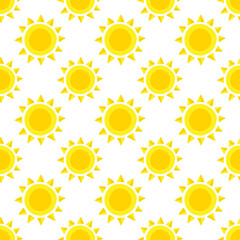 Seamless pattern with sun. Cute summer vector background.
