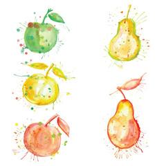 watercolor fruit set with blots