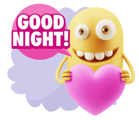 3d Rendering. Emoji in love holding heart shape saying Good Nigh