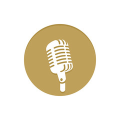 Gold Vector Icon Microphone