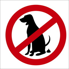 image sign of the ban on pooping dogs