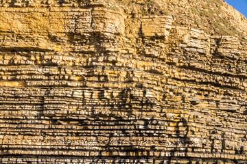 Dunraven Bay, or Southerndown beach limestone cliffs.