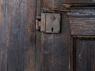 Old Romanian wooden door lock, Transylvania