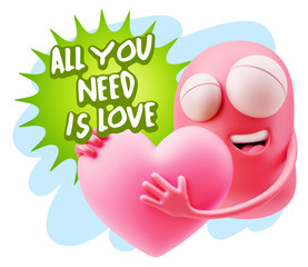 3d Rendering. Emoji in love holding heart shape saying All You N