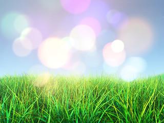 3D grass against a bokeh lights background