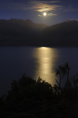 Rising moon over Lake Wanaka