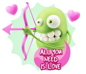 3d Rendering. Valentine Day Cupid Emoticon Face saying All You N