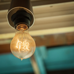 the old bulb on the ceiling of the old cafés