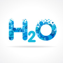 H2O water logo. Chemical formula for water drops H2O shaped vector