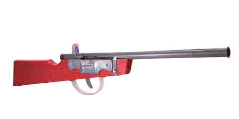 Wooden toy gun on white background