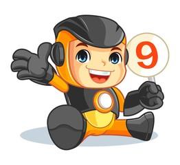 Cute Robot Mascot Cartoon Vector Illustration Give a Rating