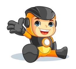 Cute Robot Mascot Cartoon Vector Illustration Say Hallo