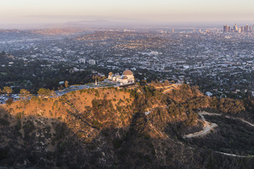 Late Afternoon Aerial of Griffith Park and Los Angeles