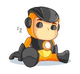 Cute Robot Mascot Cartoon Vector Illustration Sleeping