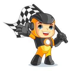Cute Robot Mascot Cartoon Vector Illustration Race Boy