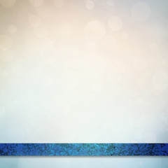 blurred white and blue bokeh background with vintage blue stripe or ribbon layer on footer
