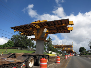 HART Light Rail concrete guideway under construction in road cen