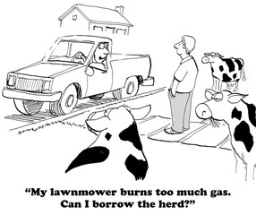 Cartoon about using cows to cut the grass.
