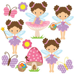 Cute garden fairy vector illustration