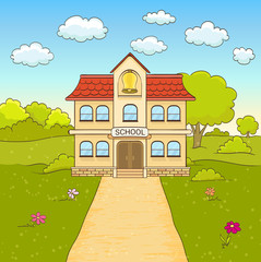 cartoon drawing of elementary school building facade with road