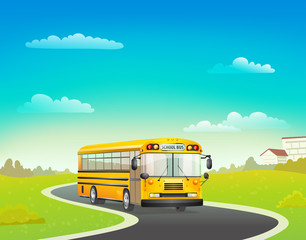 school bus on road. vector illustration