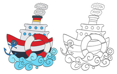 hand drawn cartoon steamship with coloring page version. vector
