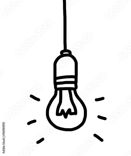 Light Bulb Cartoon Vector And Illustration Black And White Hand