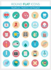 Healthcare, Medicine and Hospital Icons.