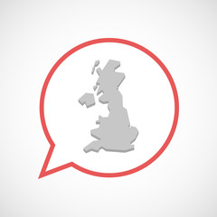 Isolated comic balloon line art icon with  a map of the UK