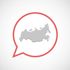 Isolated comic balloon line art icon with  a map of Russia