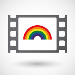 Isolated 35mm film frame with a rainbow