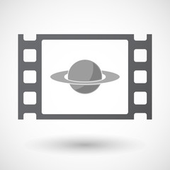 Isolated 35mm film frame with the planet Saturn