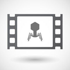 Isolated 35mm film frame with a virus