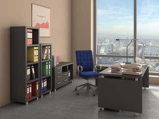 office interior, 3d illustration