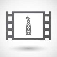 Isolated 35mm film frame with an oil tower