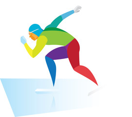 young speed skater run in competitions