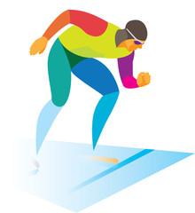 speed skater runs at a distance