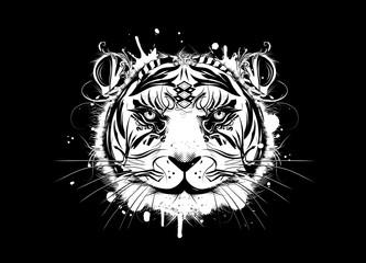 Weißer Tiger Kopf auf schwarzem Hintergrund