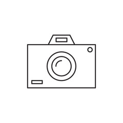 Outline photo camera icon isolated on white background