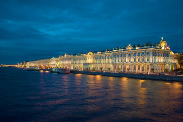 The Palace embankment and the Winter Palace of the june night. Saint Petersburg, Russia