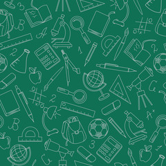 Seamless pattern on the theme of the school, a simple contour icons, light outline on a green background