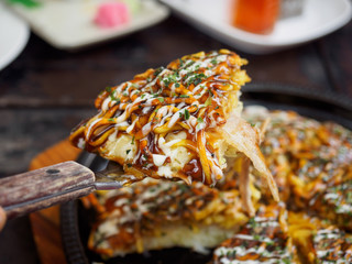 Okonomiyaki - Japanese hot plate pizza