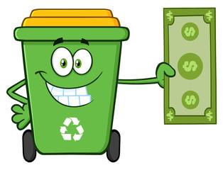 Smiling Green Recycle Bin Cartoon Mascot Character Holding A Dollar Bill
