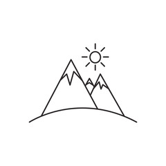 Outline mountain icon isolated on white background