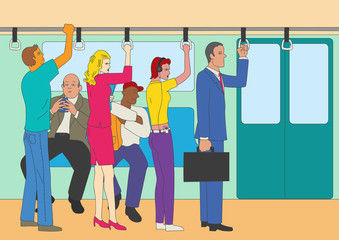 People standing and sitting in the train