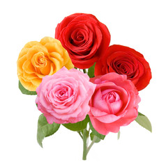 Red,yellow and pink rose flowers bunch isolated on white background