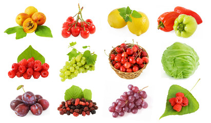 Set of fruits, vegetables and berries (plum, apricot, grapes, cherry, cabbage,peppers raspberries and mulberry) with fresh leaves isolated on white background.