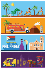 Flat design, the Philippines's landmarks and icons