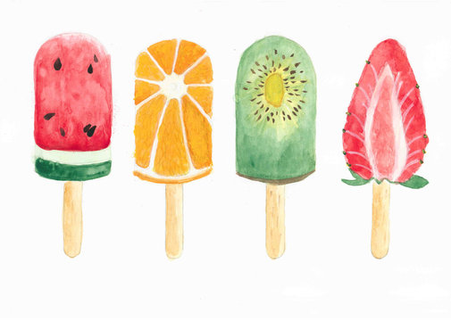 Watercolor ice cream on white background