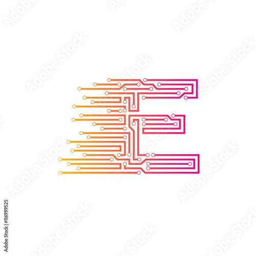 Letter E logo design template,technology,electronics,digital ...
